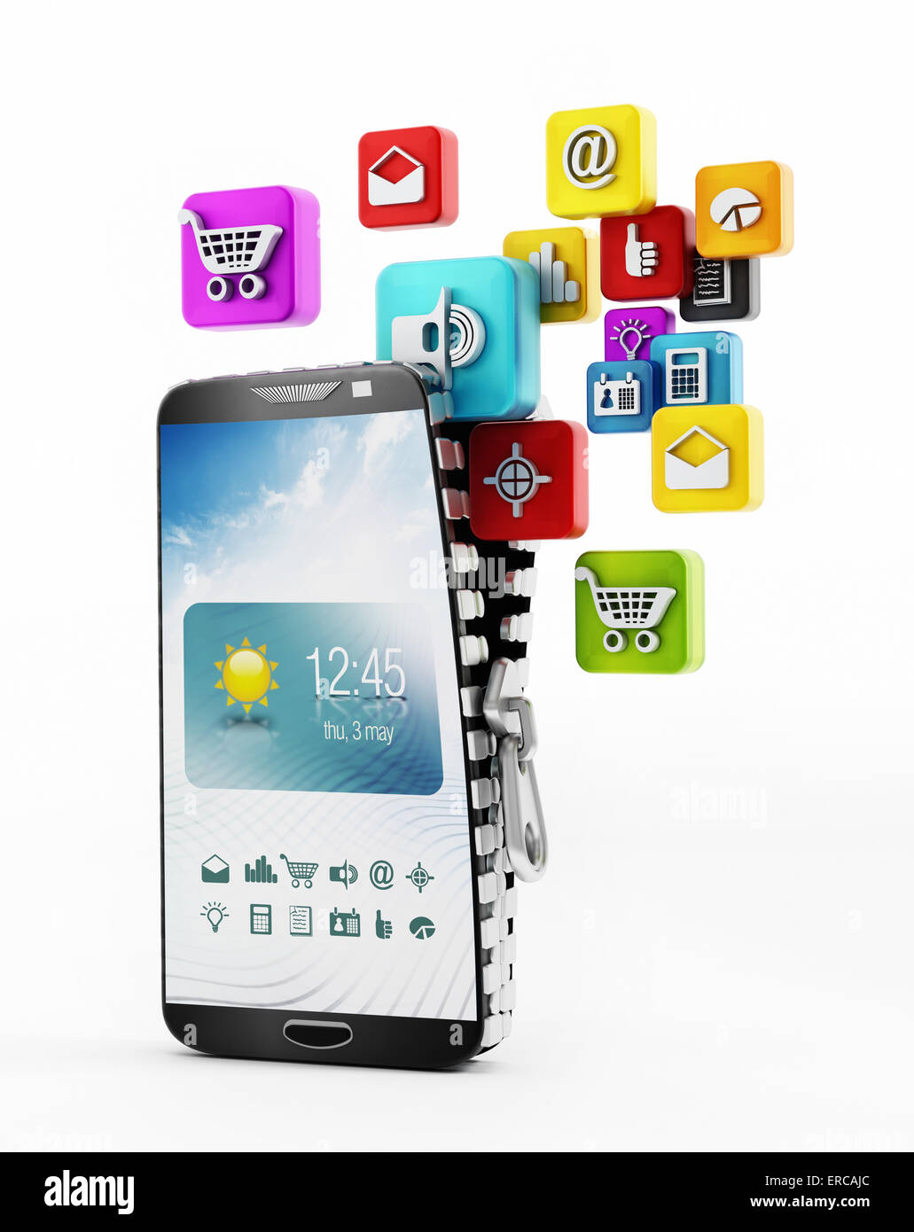 Applications downloading in smartphone - Stock Image