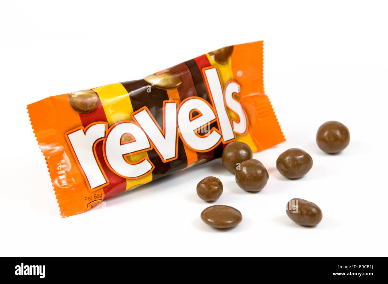 Bag of revels chocolate on white background - Stock Image