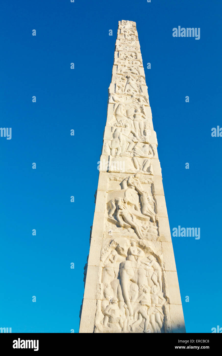 Modern era obelisk (1959), Piazza Guglielmo Marconi, EUR government and financial district, Rome, Italy - Stock Image