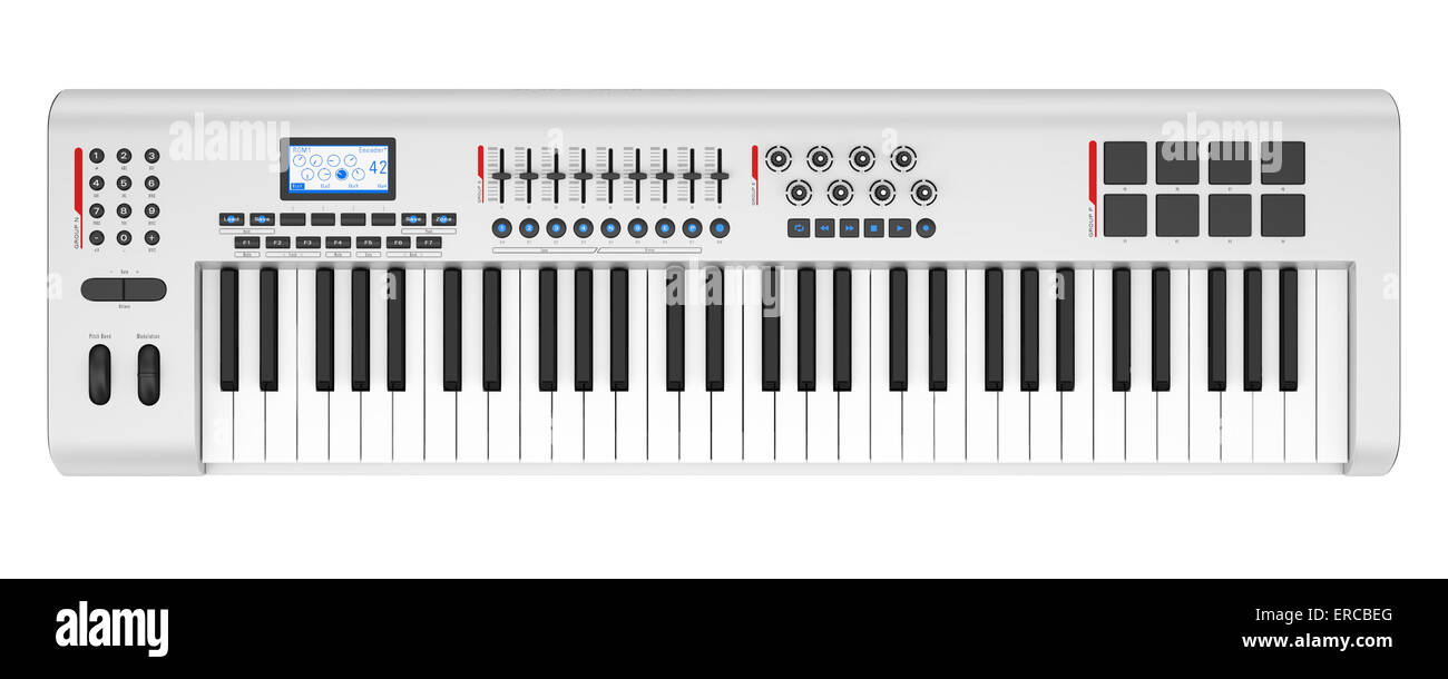top view of gray synthesizer isolated on white background - Stock Image