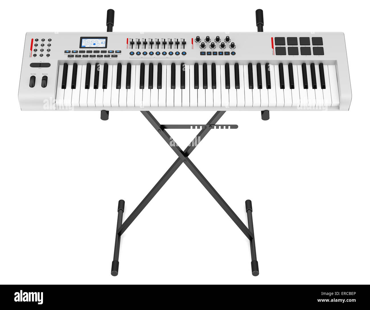 gray synthesizer on stand isolated on white background - Stock Image