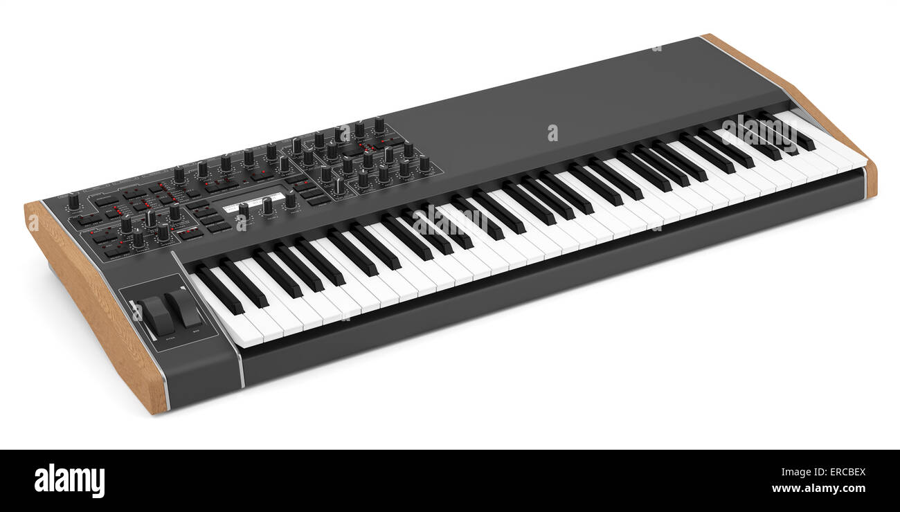 black synthesizer isolated on white background - Stock Image