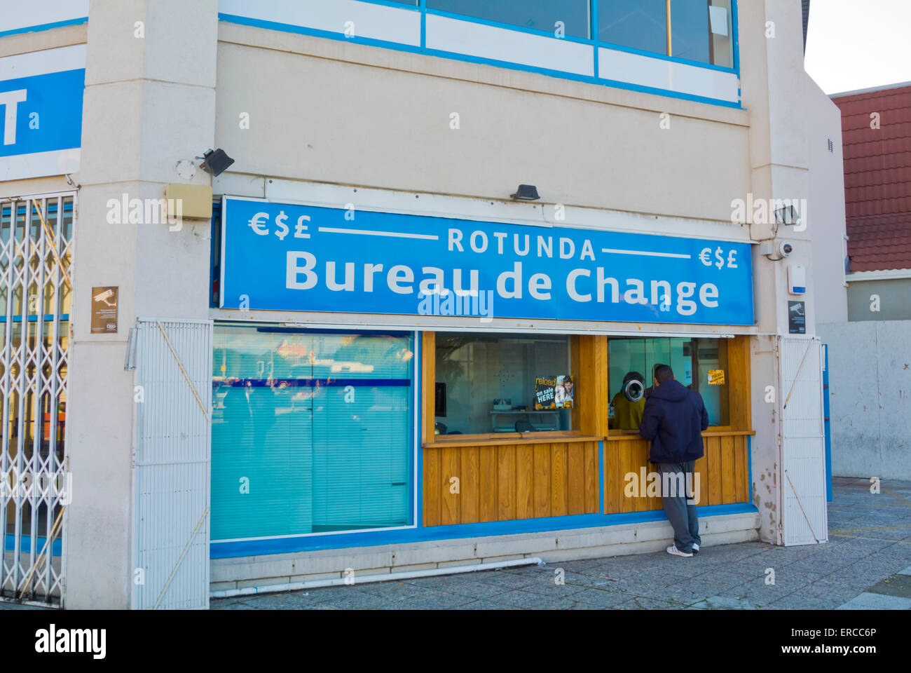 Bureau de Change, money exchange, at the border, Gibraltar, Europe - Stock Image