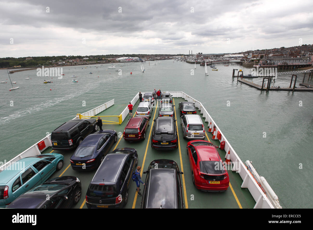 The Red Funnel Ferry sailing into Cowes on the Isle of Wight from Southampton - Stock Image