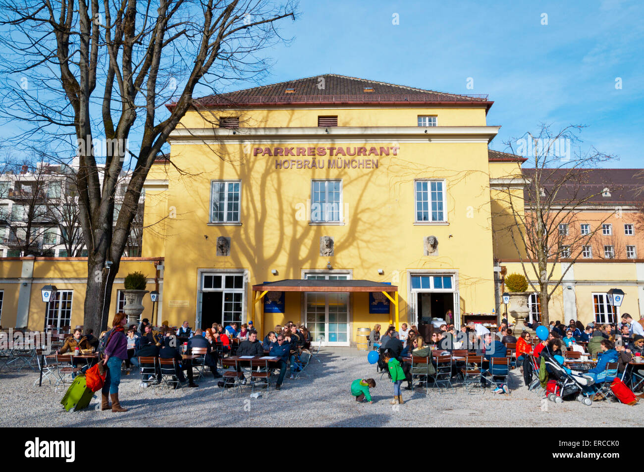 Restaurant with beer garden, Alter Botanischer Garten, Maxvorstadt, Munich, Bavaria, Germany - Stock Image