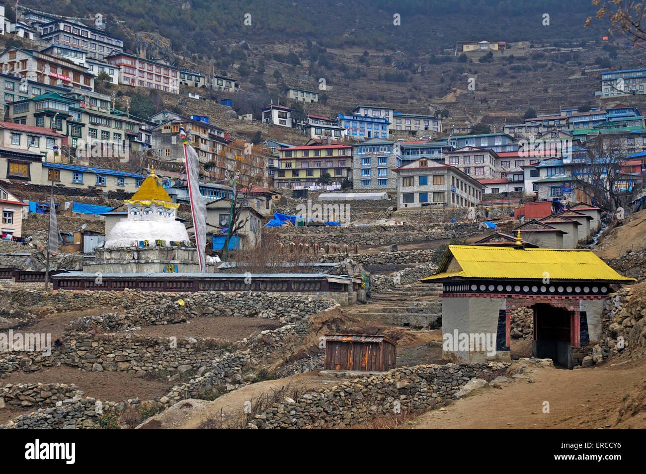 Namche Bazaar, Nepal. - Stock Image