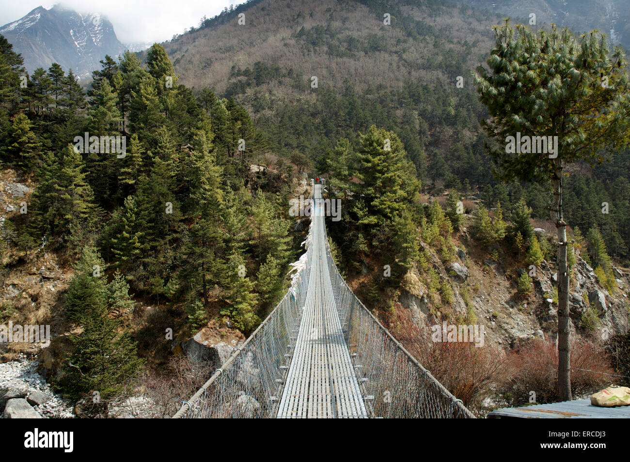Steel foot bridge over the Dudh Kosi river, Nepal - Stock Image