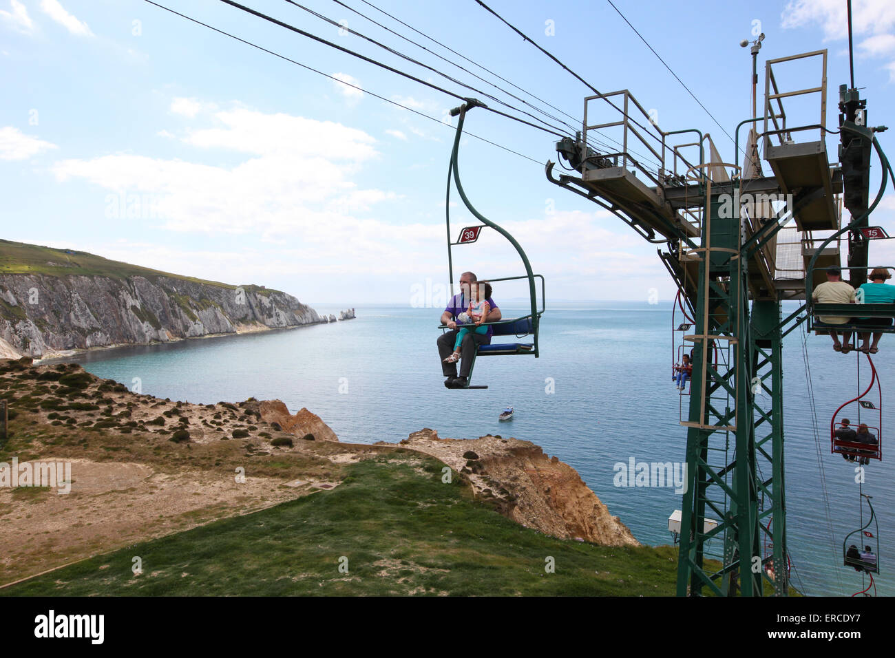 Chairlift overlooking Alum Bay beach and The Needles on the Isle of Wight UK - Stock Image