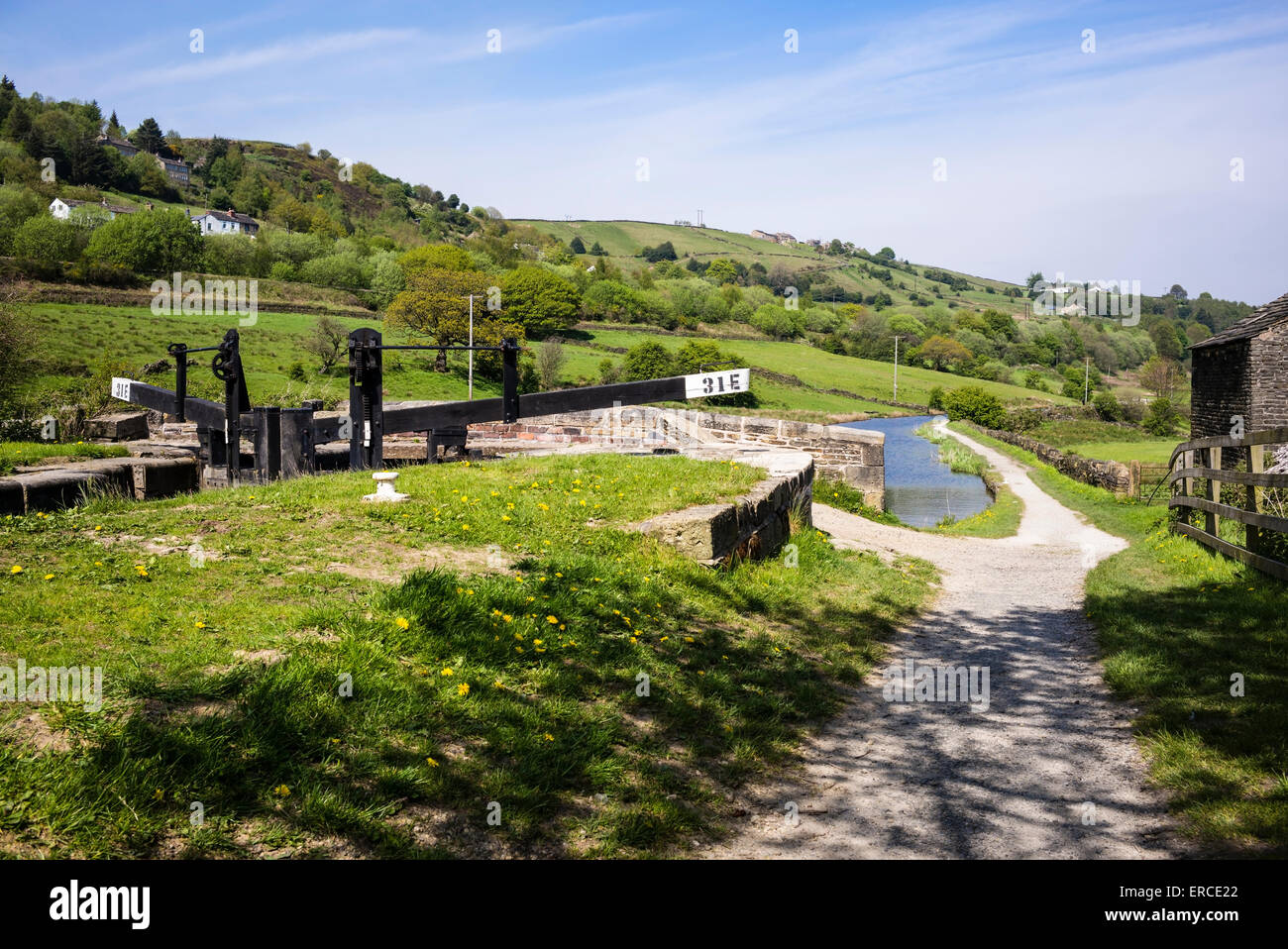 The Colne Valley beyond Booth Lock (31 E), Marsden, Yorkshire, England - Stock Image