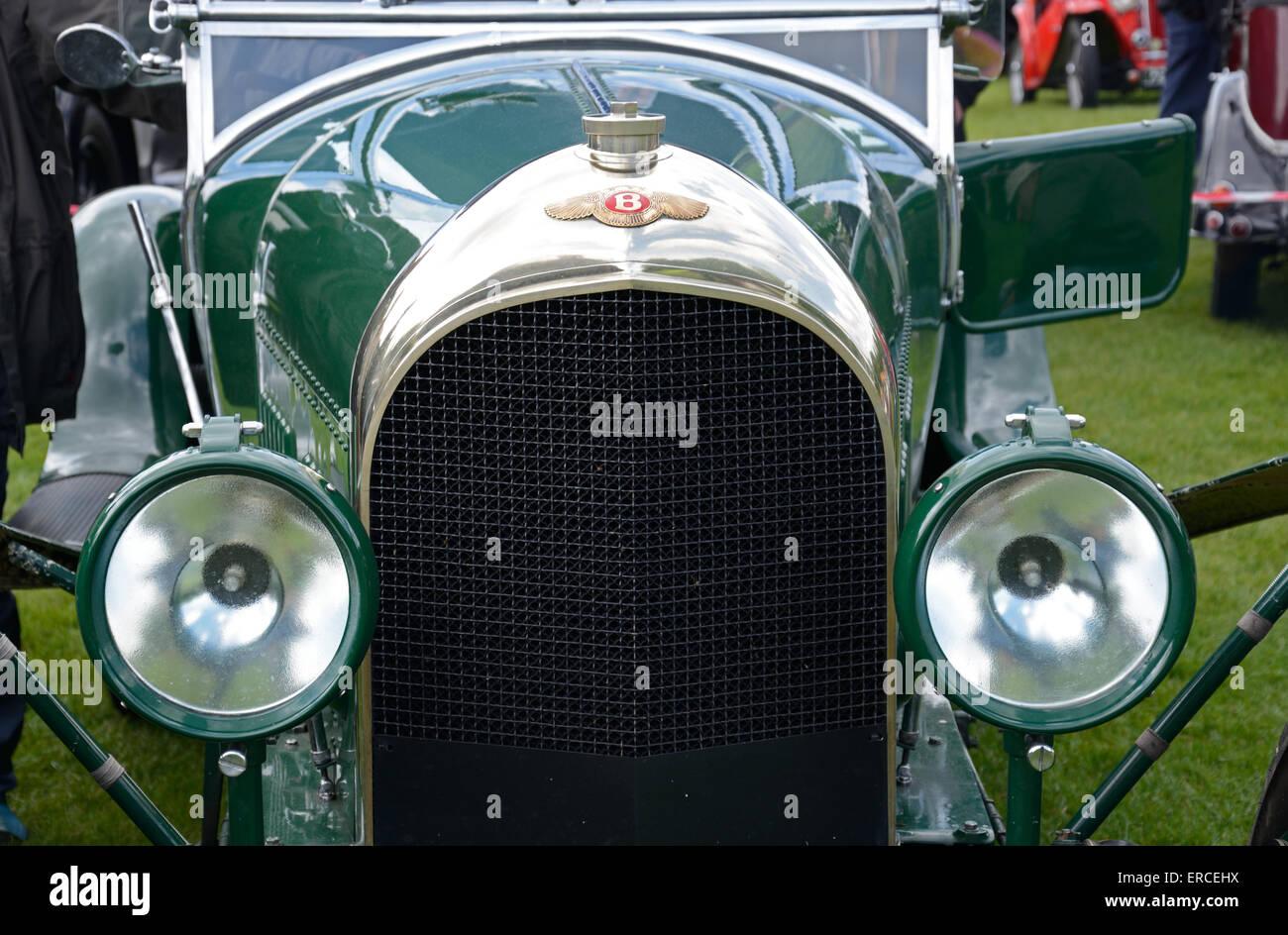 Close up of radiator of 1930's Bentley, Wollaton Park, Nottingham, England. - Stock Image
