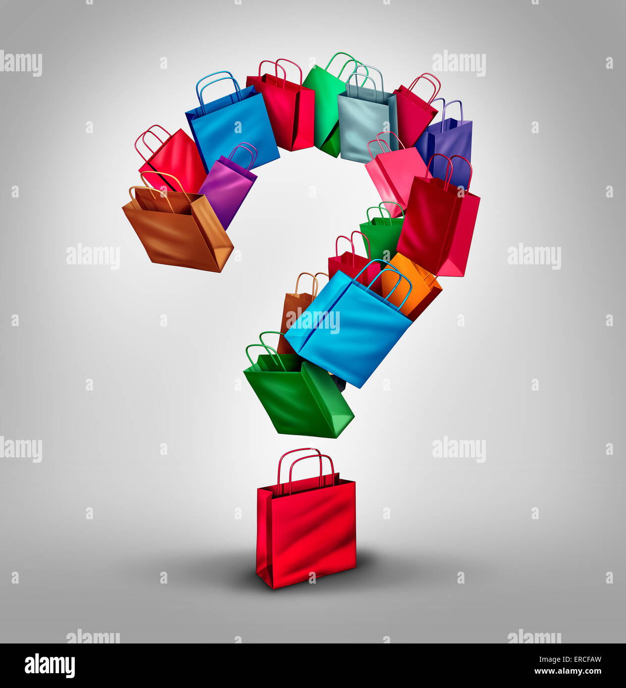 Shopping questions concept as a group of retail store bags shaped as a three dimensional question mark as a symbol - Stock Image