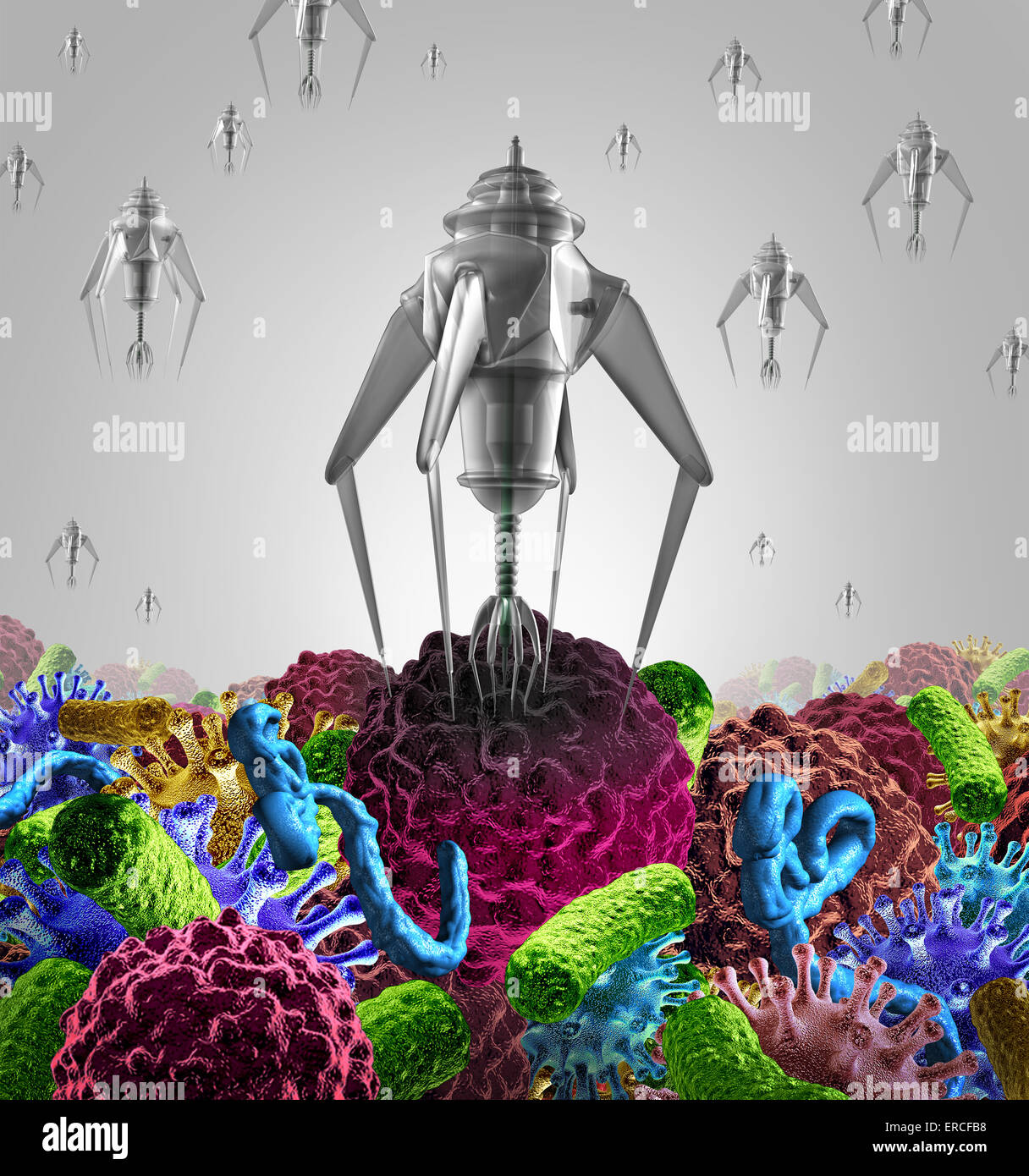 Nanotechnology medical therapy medicine concept as a group of microscopic nano robots or nanobots programed to kill - Stock Image