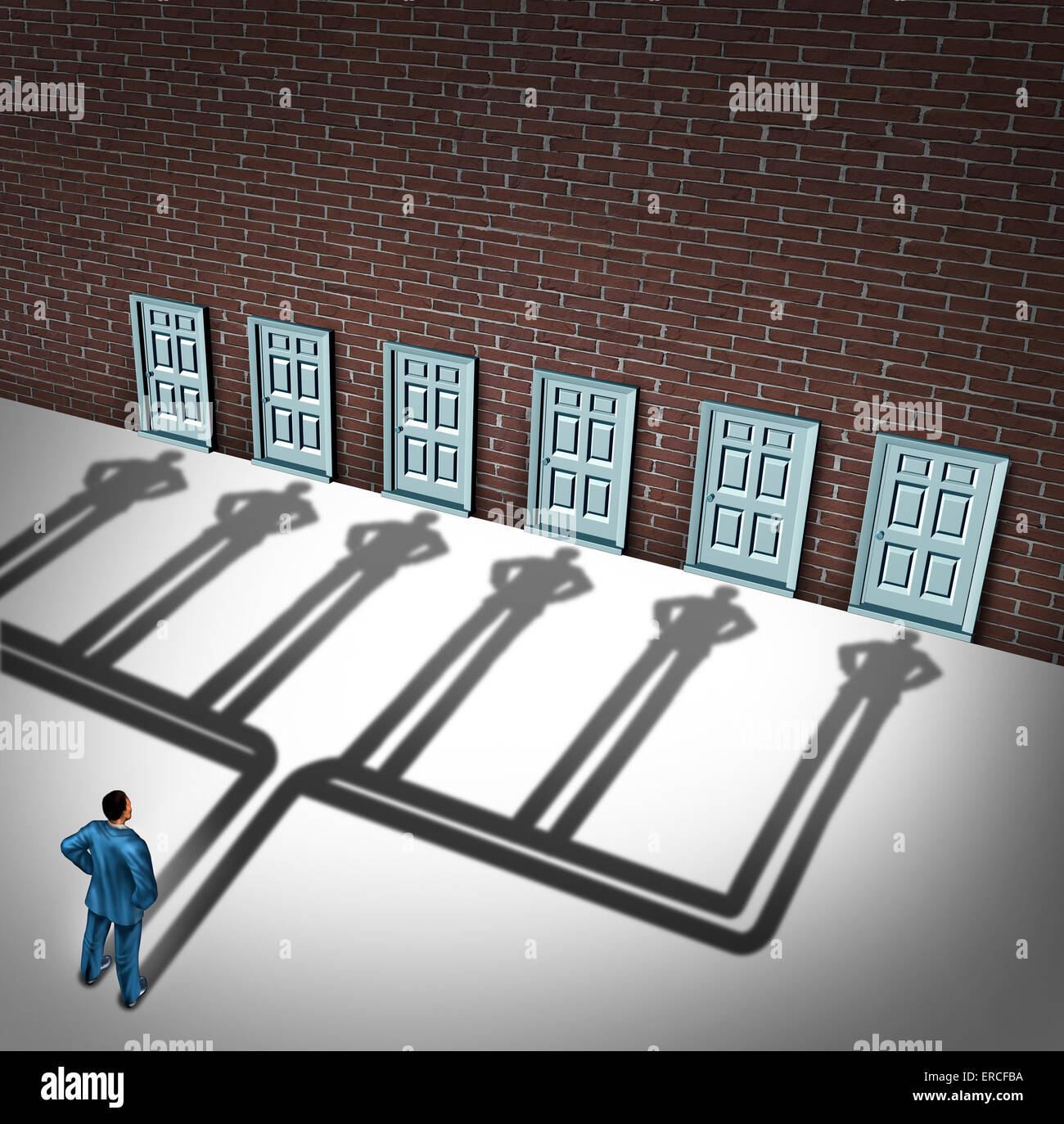 Businessman door choice concept as a person deciding to choose the right doorway with a cast shadow of multiple - Stock Image