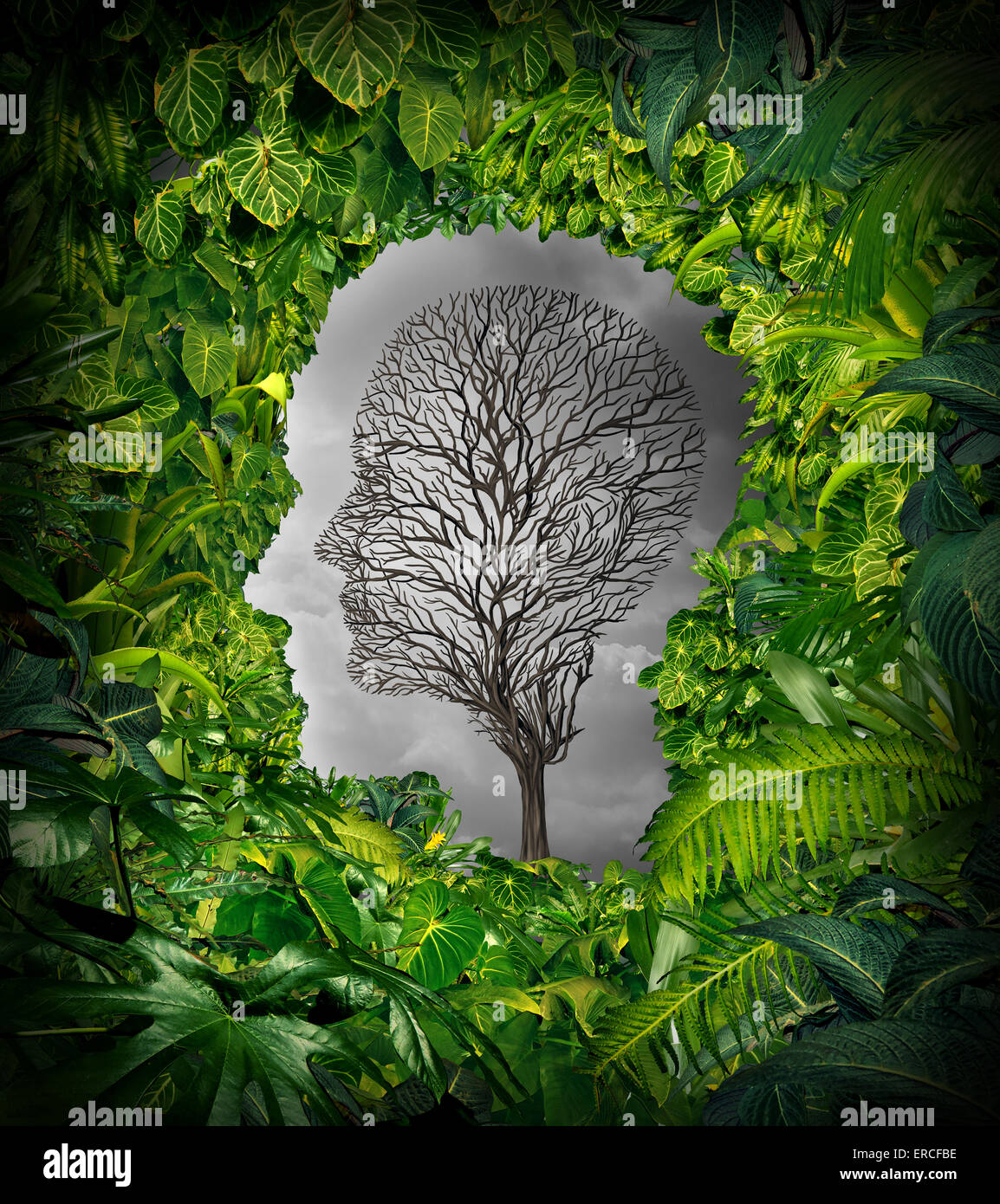 Inside depression concept and inner feelings of distress as a mental health symbol with a healthy green plant jungle - Stock Image