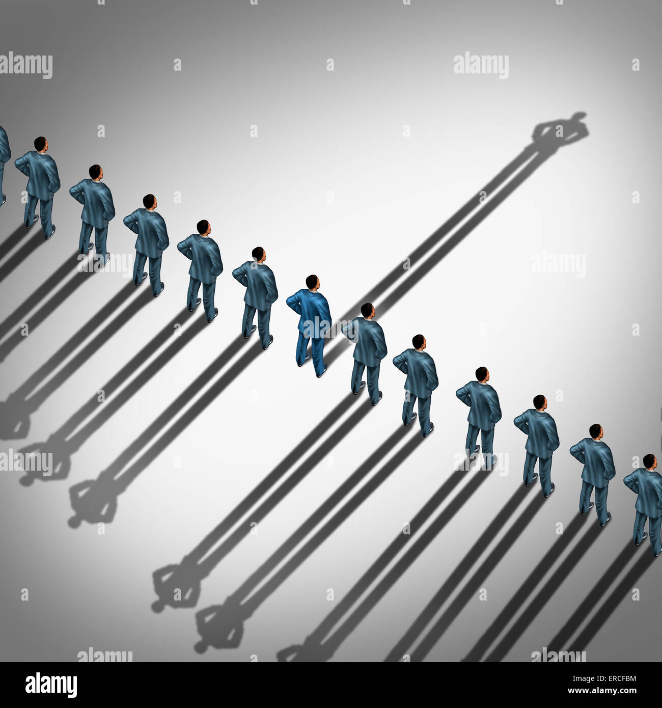 Different business thinking and independent thinker concept and new leadership concept or individuality as a group - Stock Image