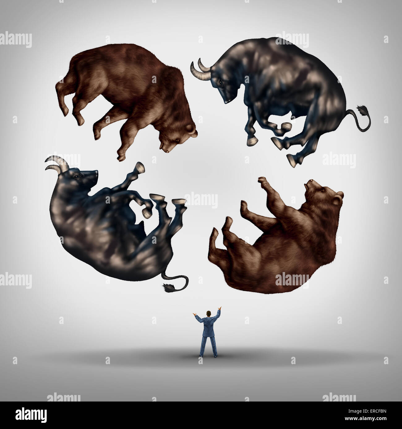 Investing in stocks concept as a financial advisor or stock broker businessman juggling a group of bears and bulls - Stock Image