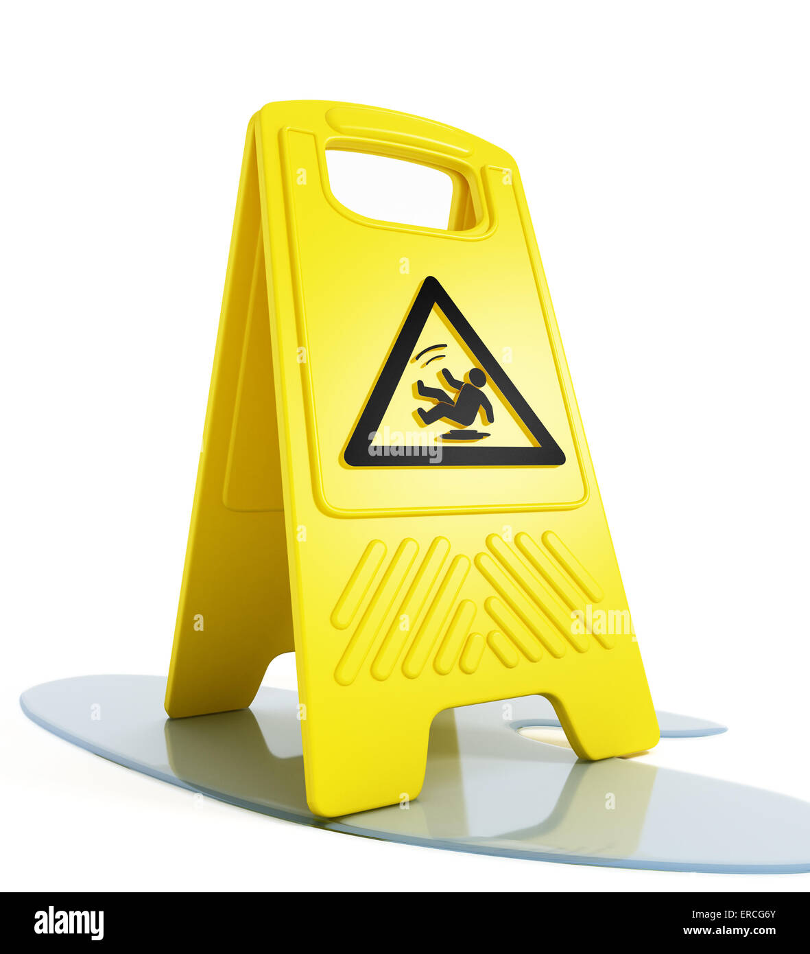 Slippery floor warning on white background - Stock Image