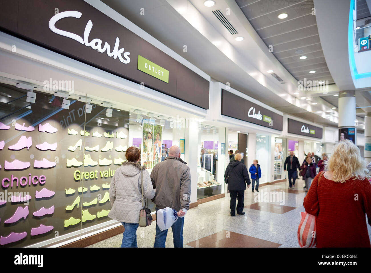 f877f48f20becb Salford Quays f Lowry Outlet shopping mall clarks store shop front People  crowds many crowded community