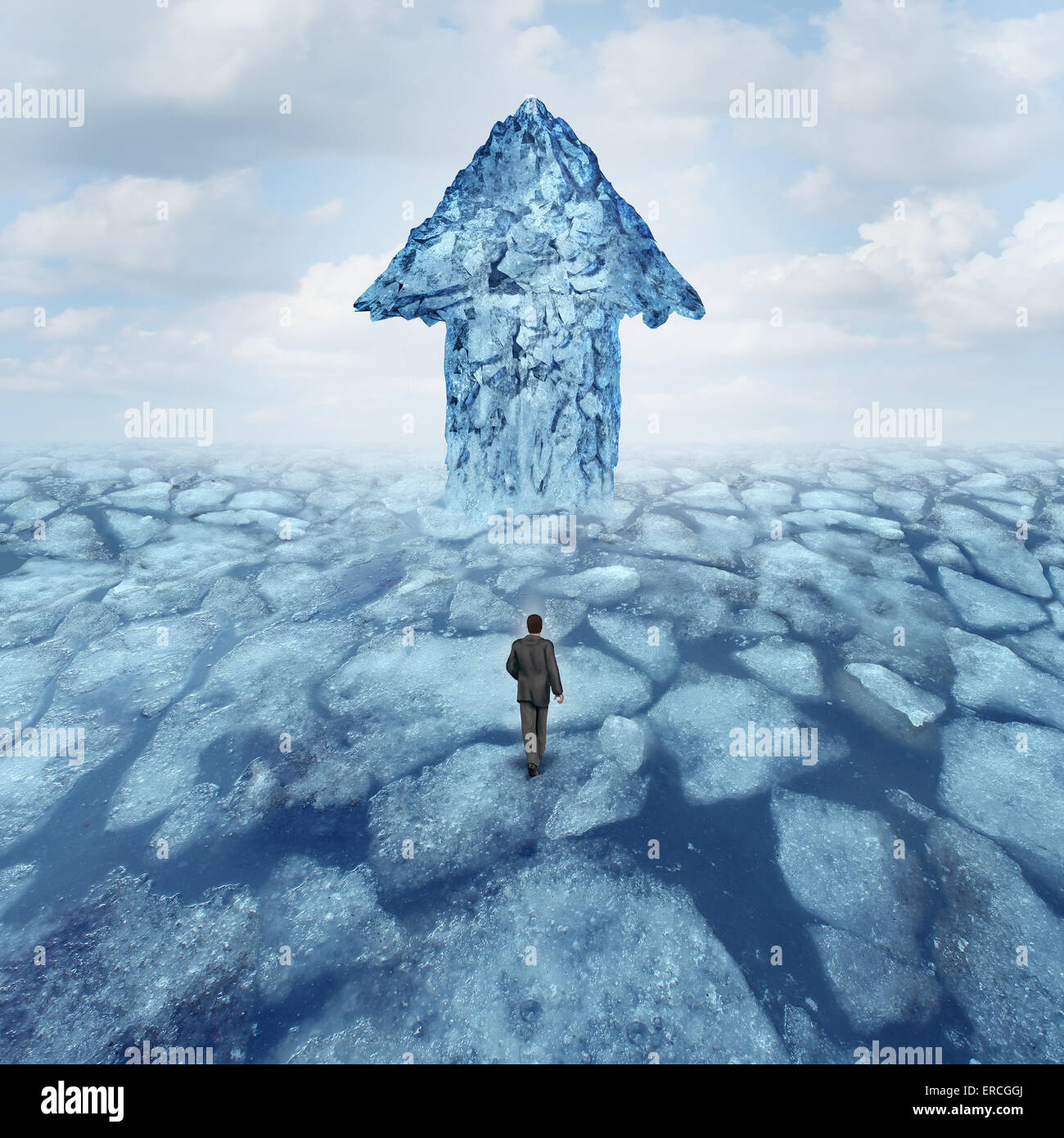 Success journey concept as a businessman walking on broken frozen ice with an iceberg shaped as an arrow as a metaphor - Stock Image