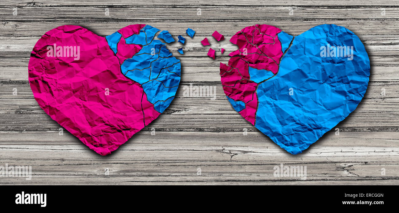 Romantic relationship concept as two hearts made of torn crumpled paper on weathered wood as a symbol for romance - Stock Image