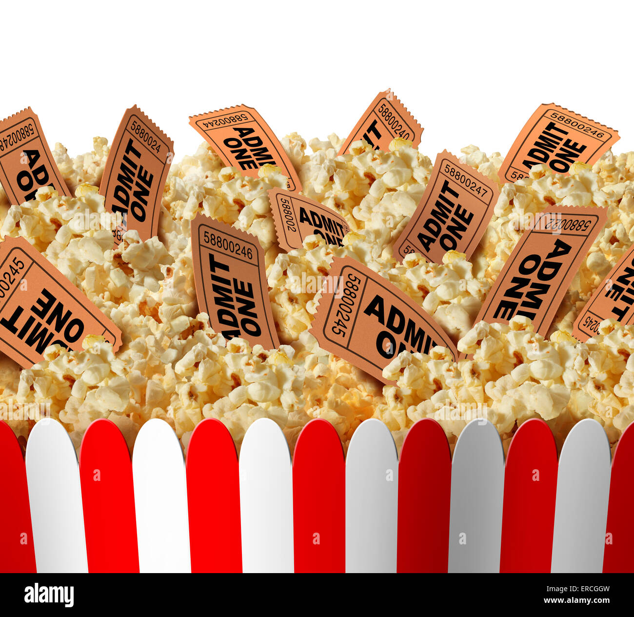 Movie popcorn tickets border as a group of popped corn snacks with cinema ticket stubs in the food as a theatrical - Stock Image