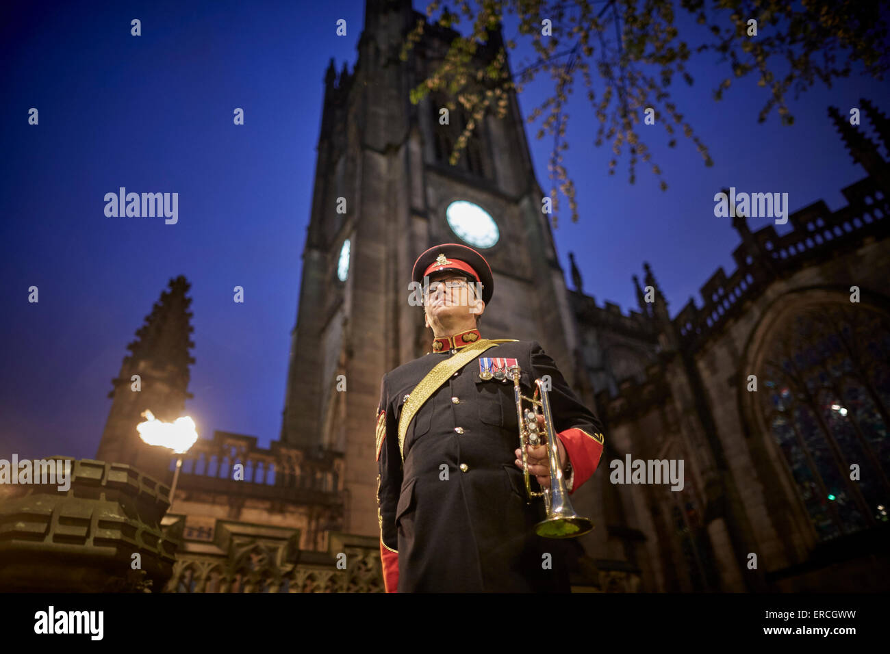 Manchester Cathedral service to mark the anniversary of VE Day (Victory in Europe Day), marking 70 years since the - Stock Image