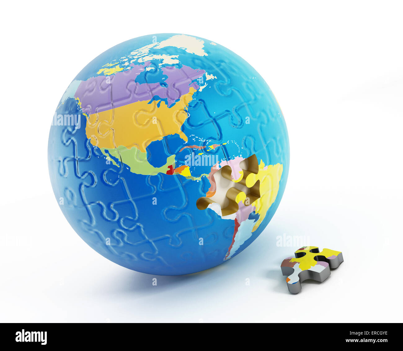 Puzzle parts forming Earth with one missing piece. - Stock Image