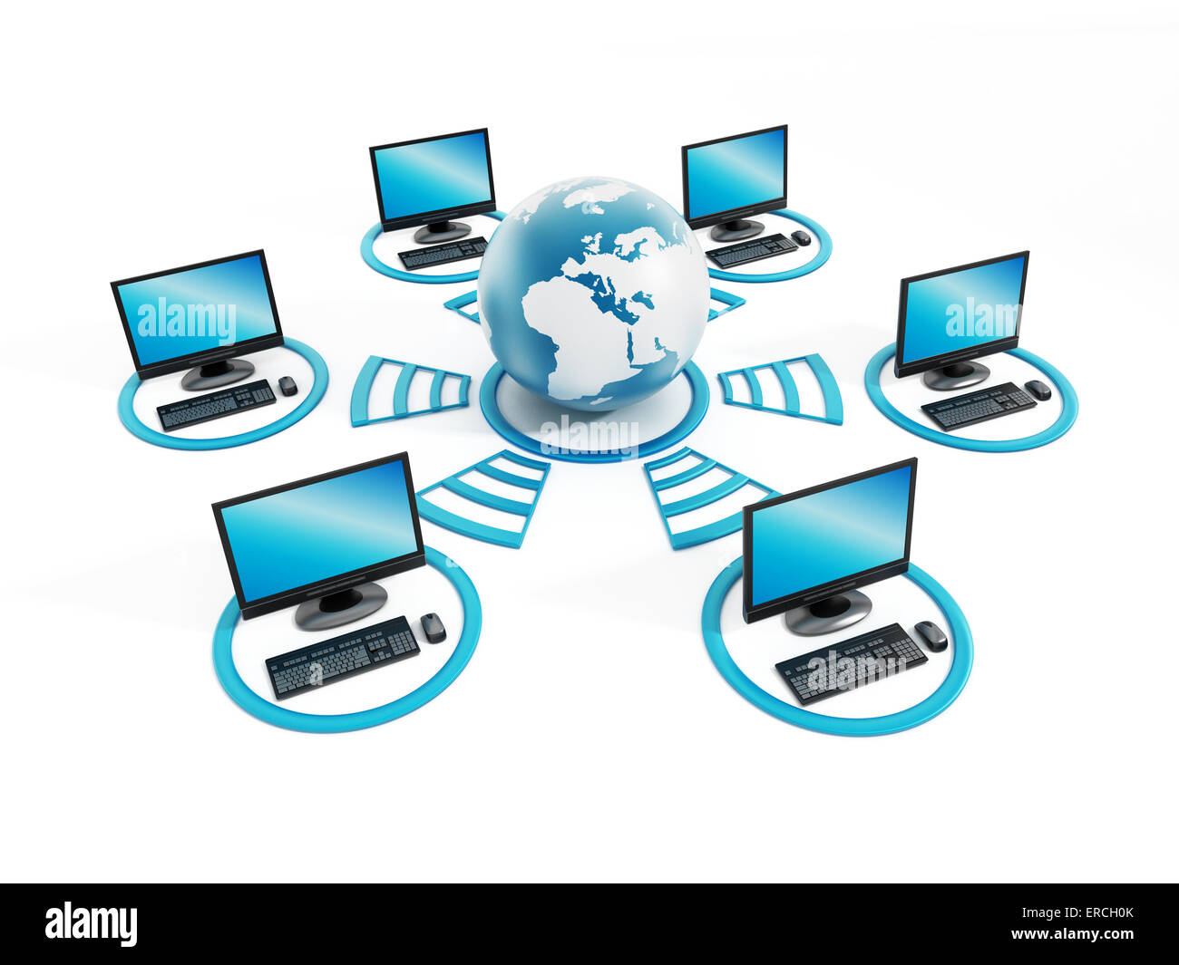 Global network with connected computers Stock Photo ...