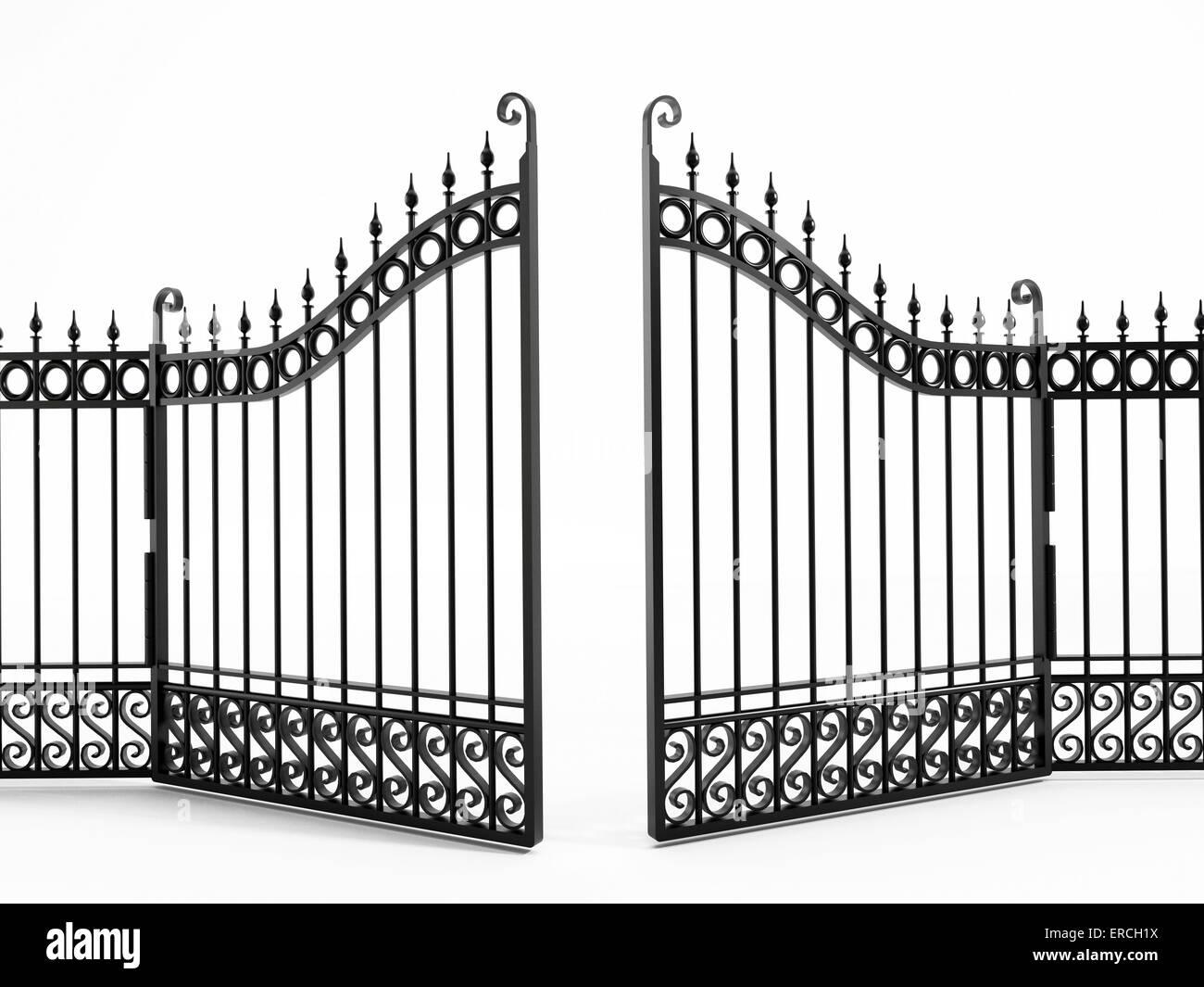Black iron gate isolated on white - Stock Image