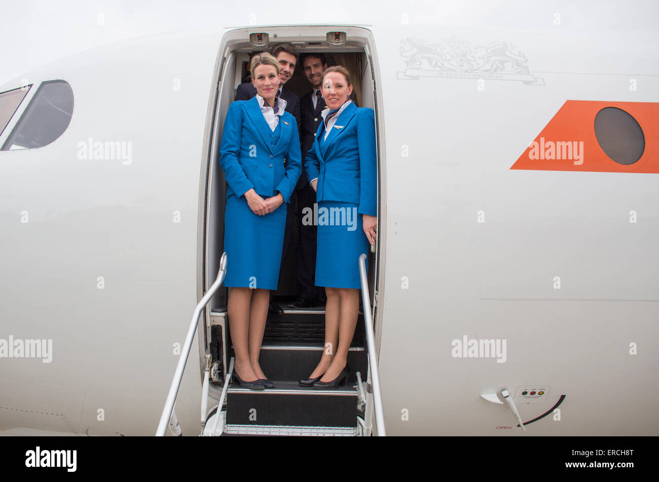 pilots and stewardesses of the KBX, Fokker 70 of the Dutch Government - Stock Image
