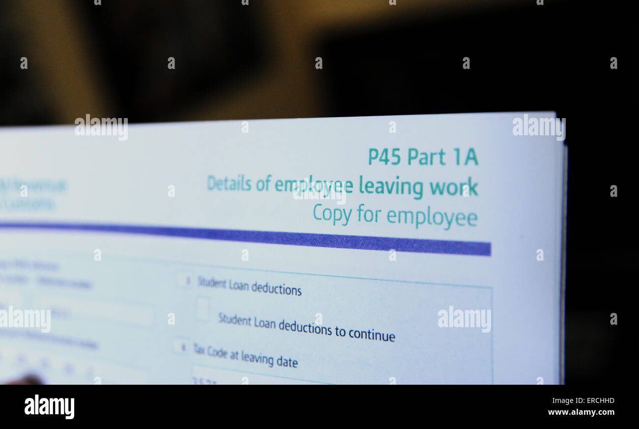 UK HMRC P45 form for when an employee leaves a company or is made redundant - Stock Image