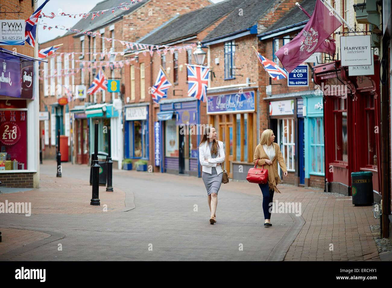 Nantwich shopping town centre shops street - Stock Image