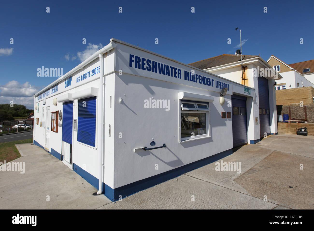 Freshwater Lifeboat Station, Freshwater Bay, Isle of Wight UK - Stock Image