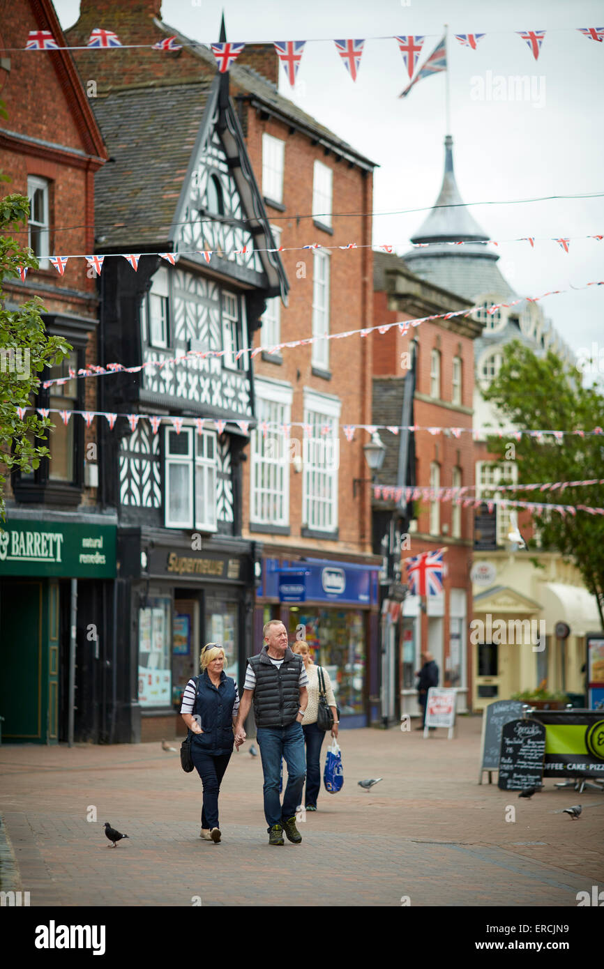 Nantwich is a market town and civil parish in the Borough of Cheshire East and the county of Cheshire, England  - Stock Image