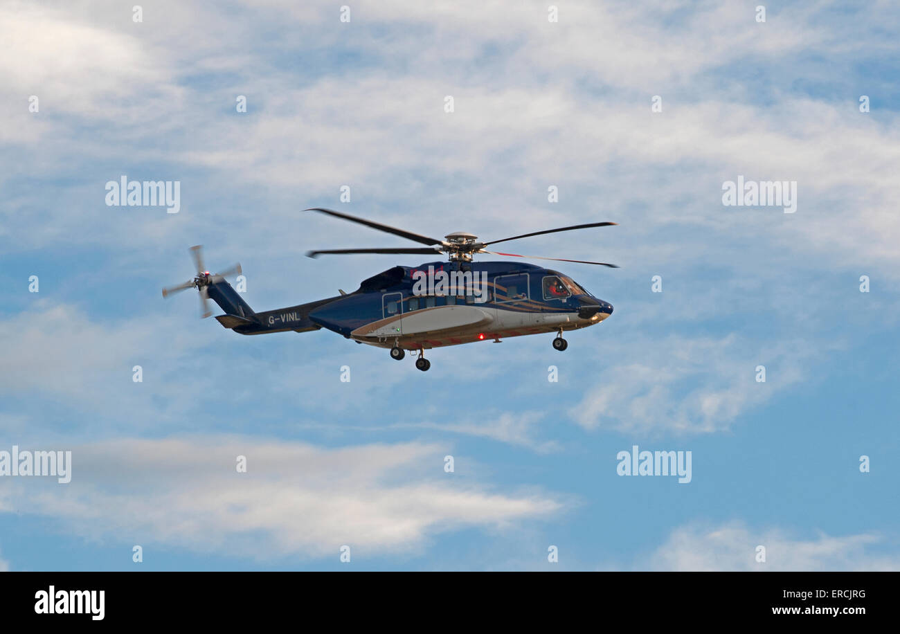 Bond Helibus North Sea Oil Offshore helicopter Aberdeen Scotland.  SCO 9836. - Stock Image