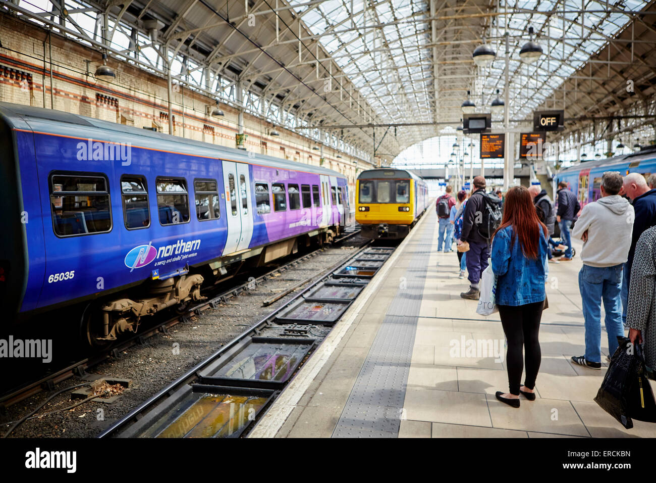 Manchester Piccadilly a Norther Rail class 142 pacer arriving onto platform 2  Railways station hub central trains - Stock Image