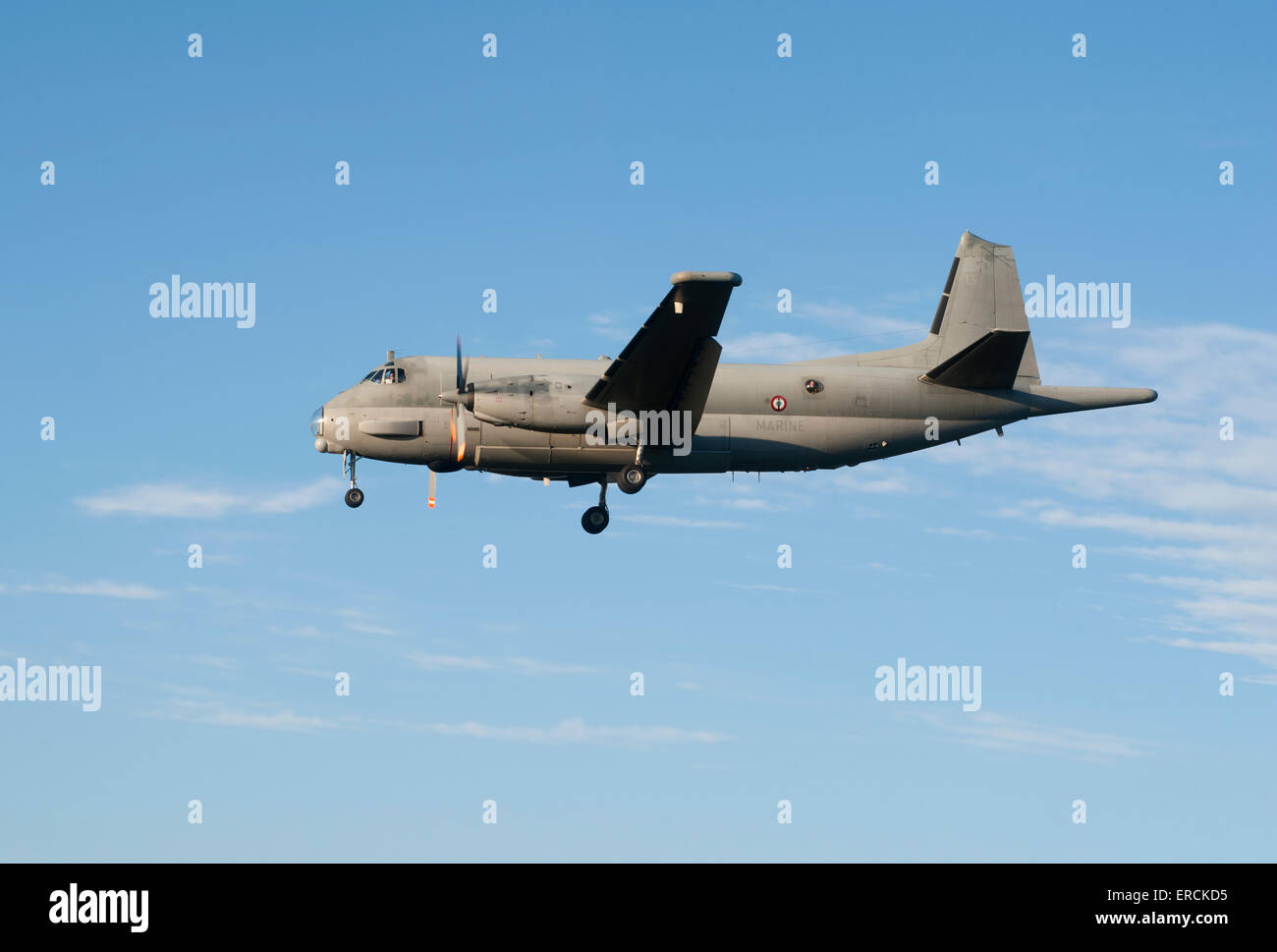 The Atlantique ATL3 maritime patrol aircraft returning to RAF Lossiemouith Airfield whilst on UK exercise.  SCO - Stock Image
