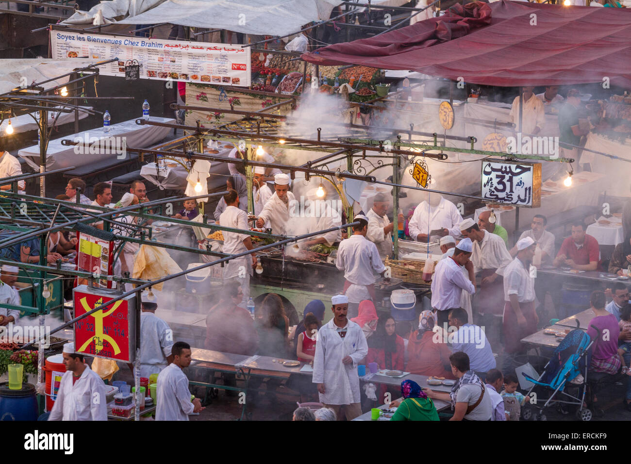 Jamaa el Fna is a square and market place in Marrakesh's Stock Photo