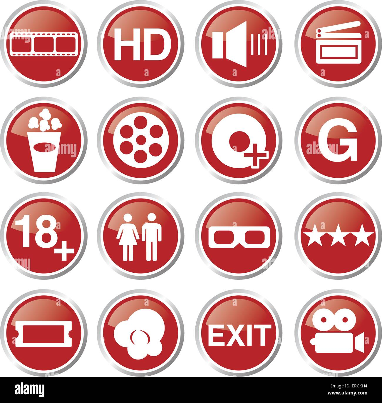 movie and cinema icon set - Stock Image