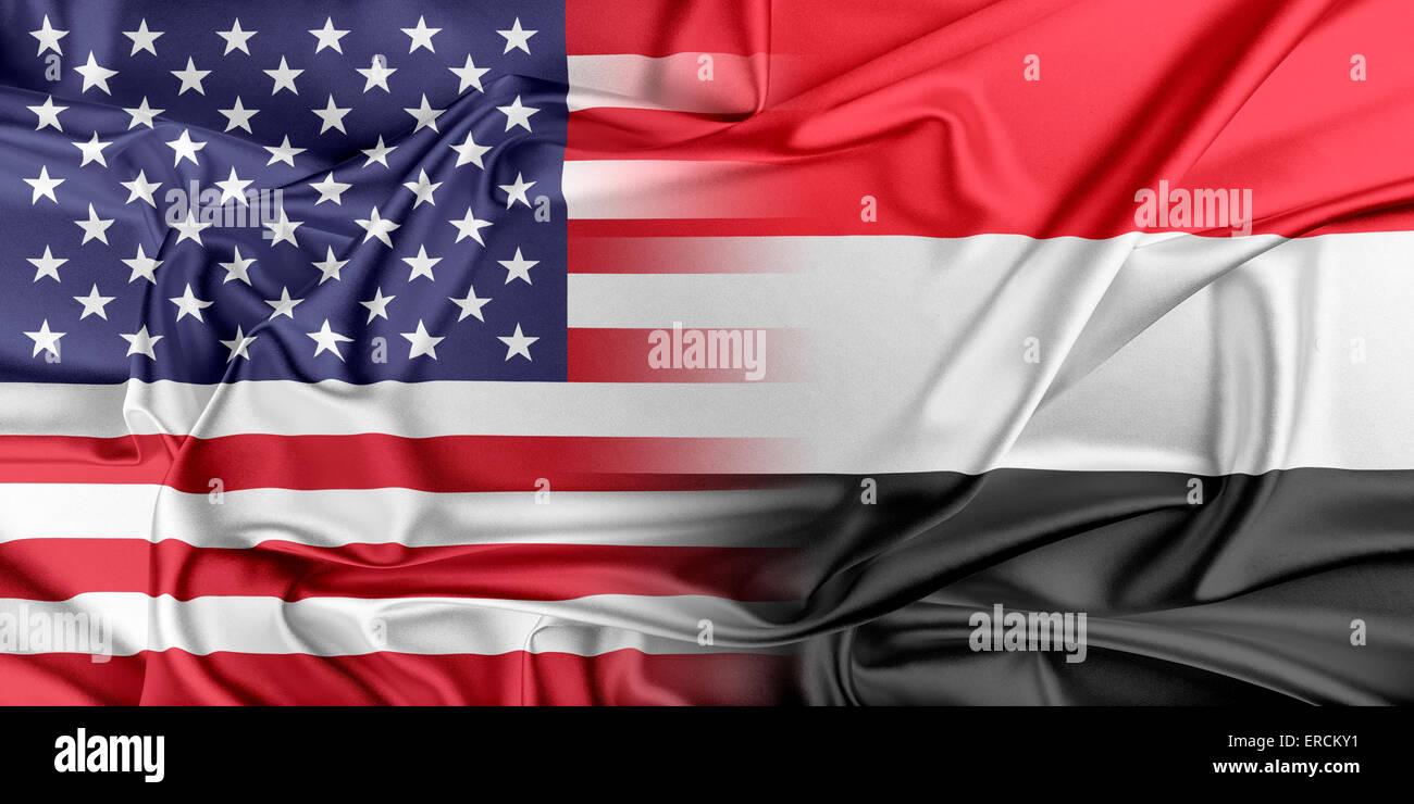 USA and Yemen - Stock Image