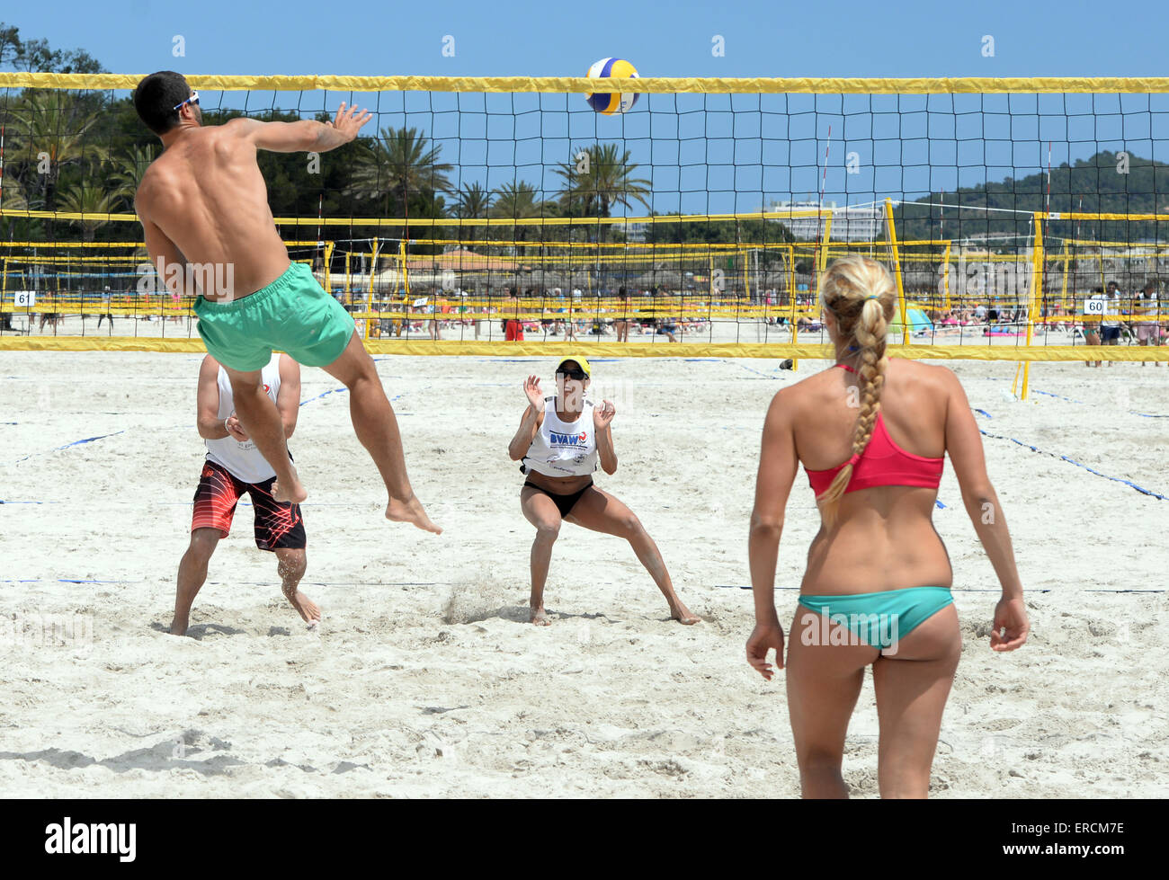 Mixed Beach Volleyball Tournament Between Boys And Girls On The Beach Stock Photo Alamy