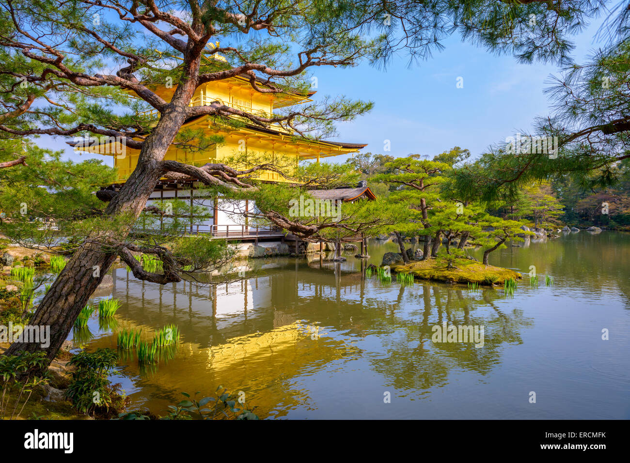 Kyoto, Japan at the Temple of the Golden Pavilion. - Stock Image