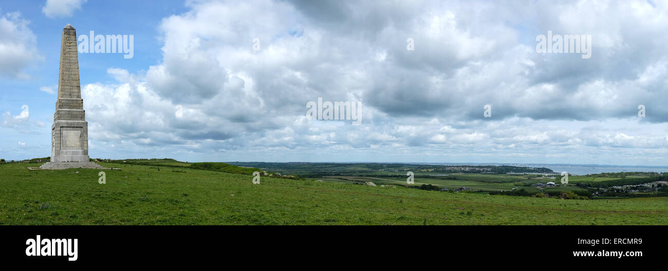 Yarborough Monument on Culver Down near Bembridge on the Isle of Wight, built in memory of The Earl of Yarborough - Stock Image