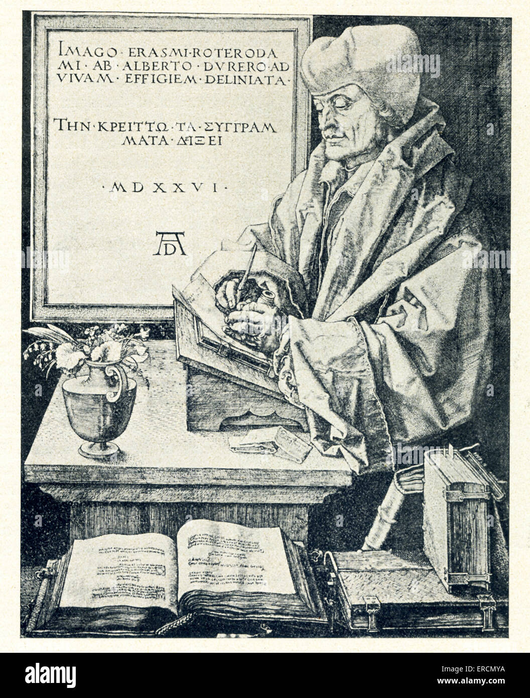 Erasmus Desiderius of Rotterdam was a Dutch Renaissance humanist. He lived from 1466 to 1536. Erasmus was also a - Stock Image