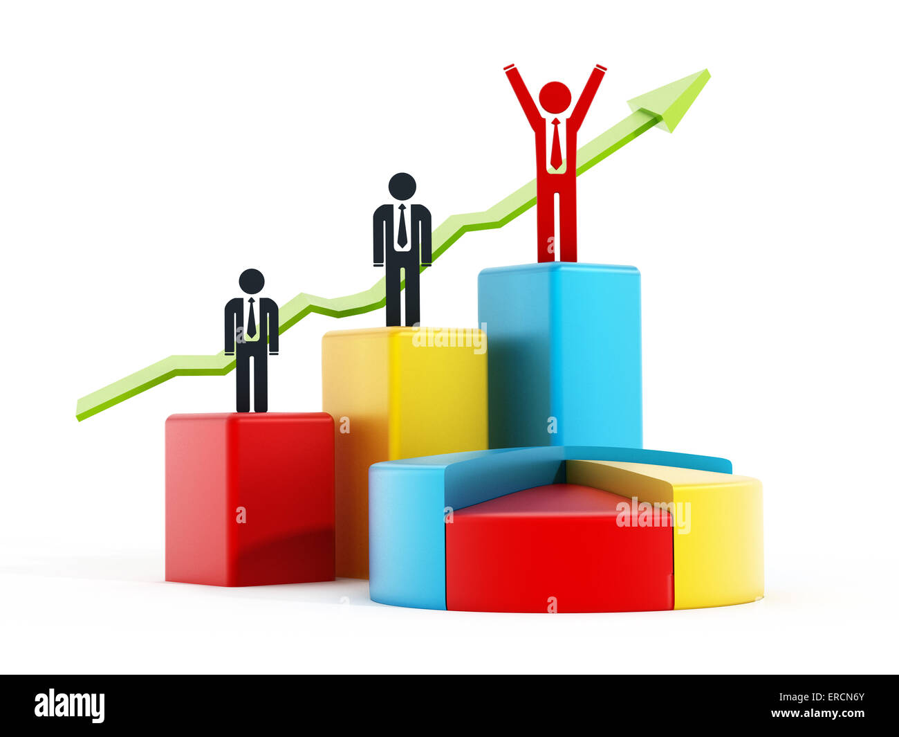 Business success concept with graphs and pie chart. - Stock Image