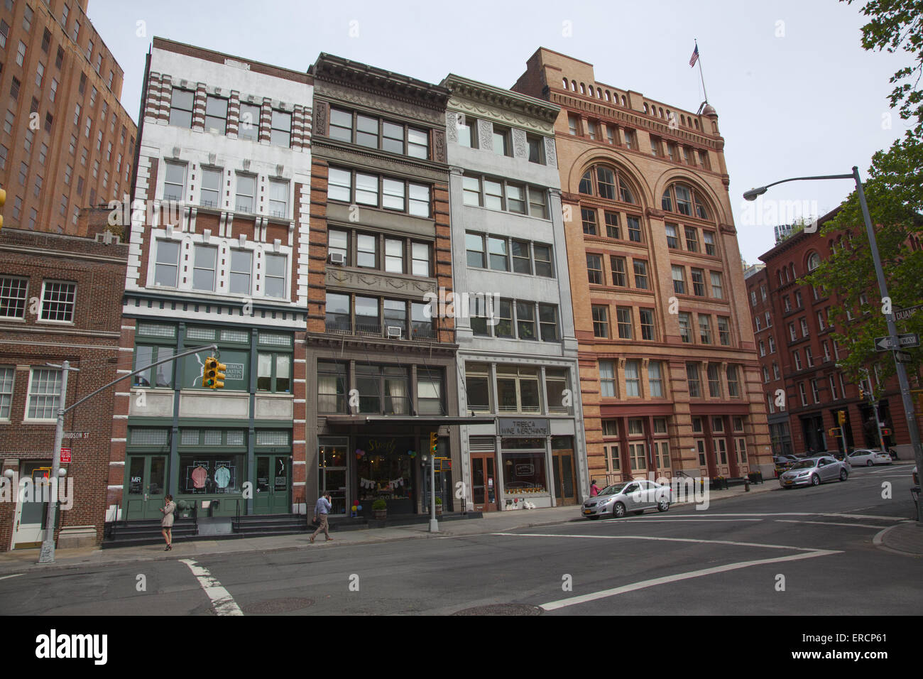 Nice old buildings on Hudson Street, Tribeca neighborhood in Manhattan, NYC. Name comes from, TRIangle BElow CAnal Stock Photo