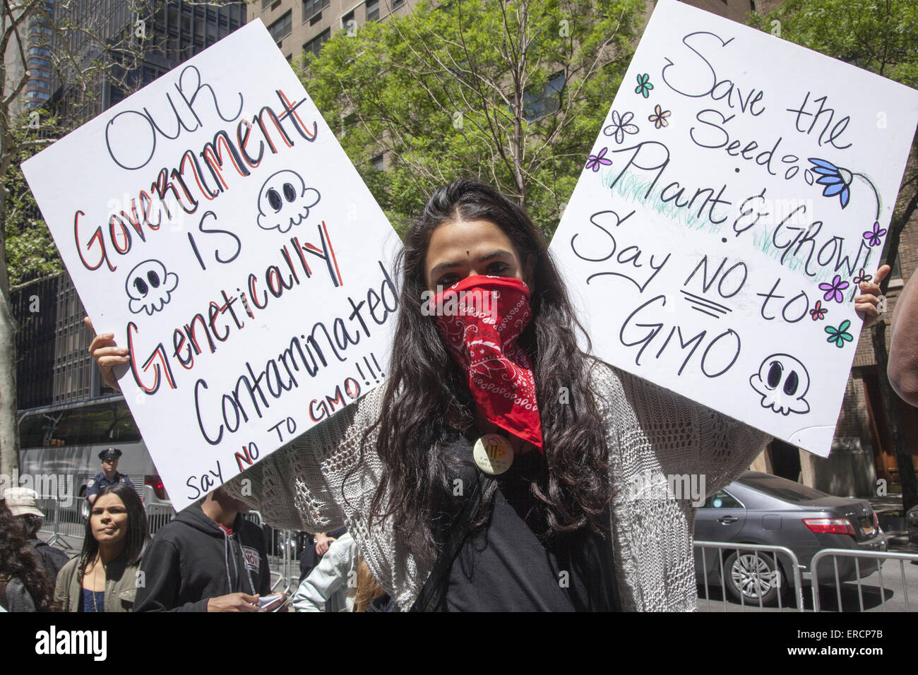 Protest March against Monsanto, genetically modified foods and the company's  attack on a 'consumer's - Stock Image