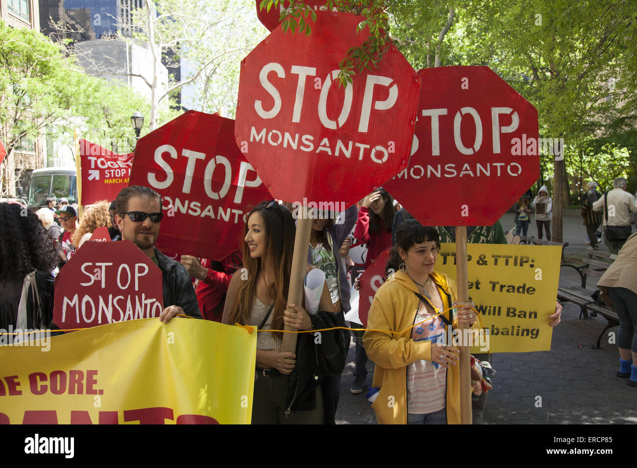Protest March against Monsanto, genetically modified foods and the company's  attack on a 'consumer,s  right - Stock Image