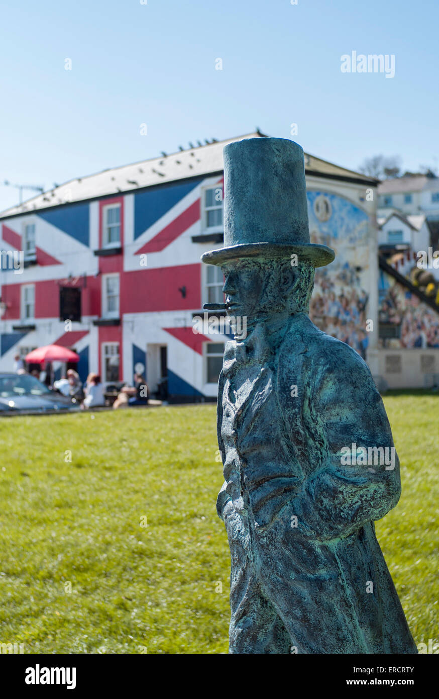 Statue of Isambard Kingdom Brunel,saltash riverside Stock Photo