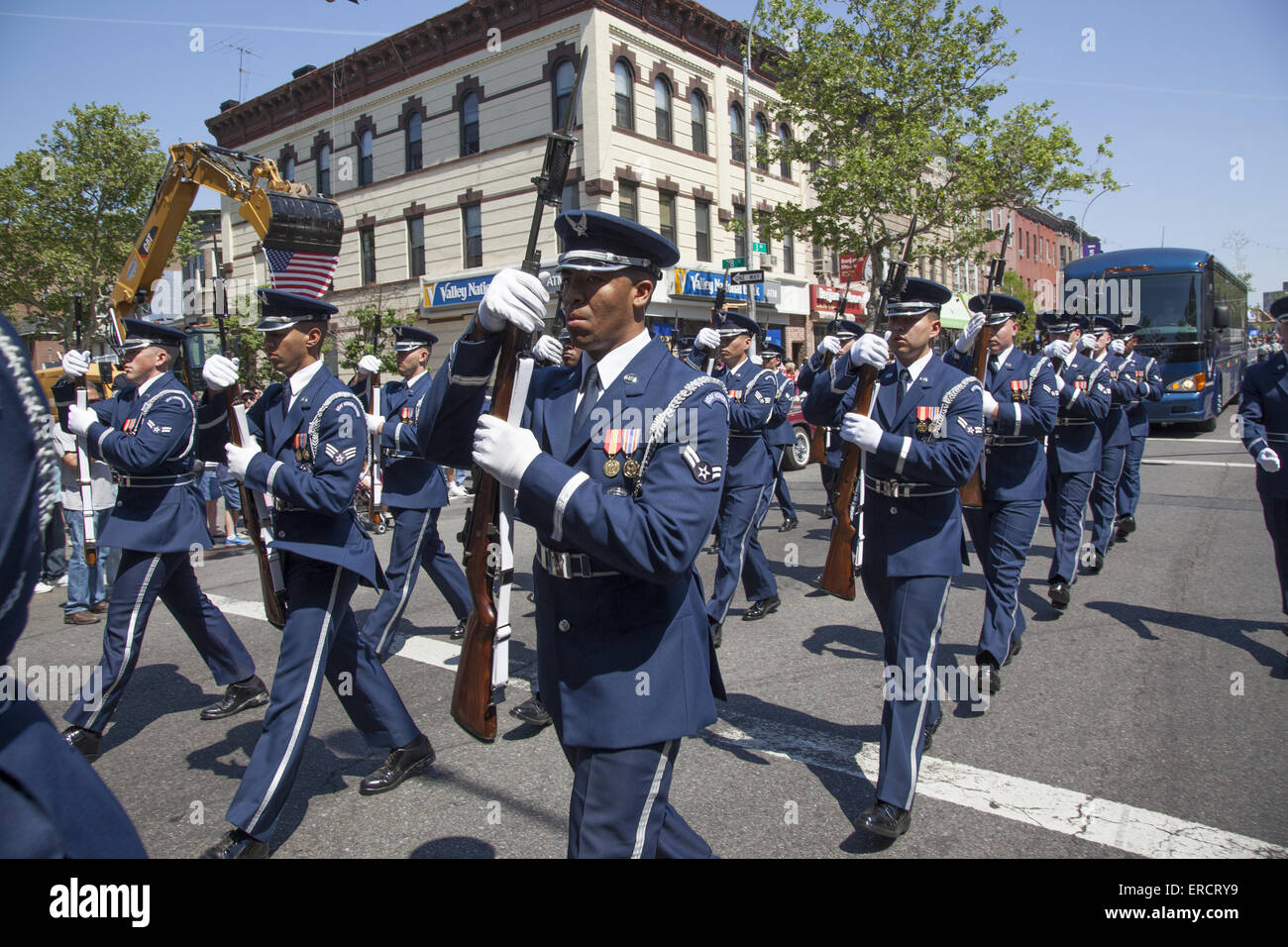 US Air Force officers with medals march in the Memorial Day Parade in Bay Ridge, Brooklyn, NY. - Stock Image